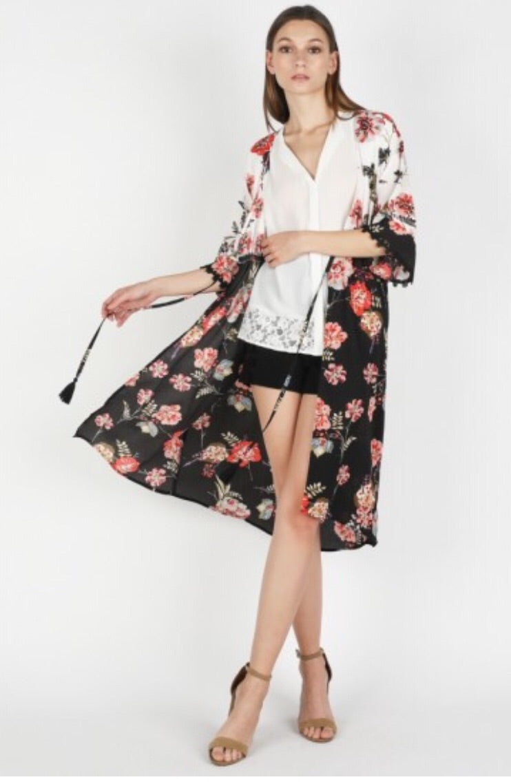 Black & White Floral Duster