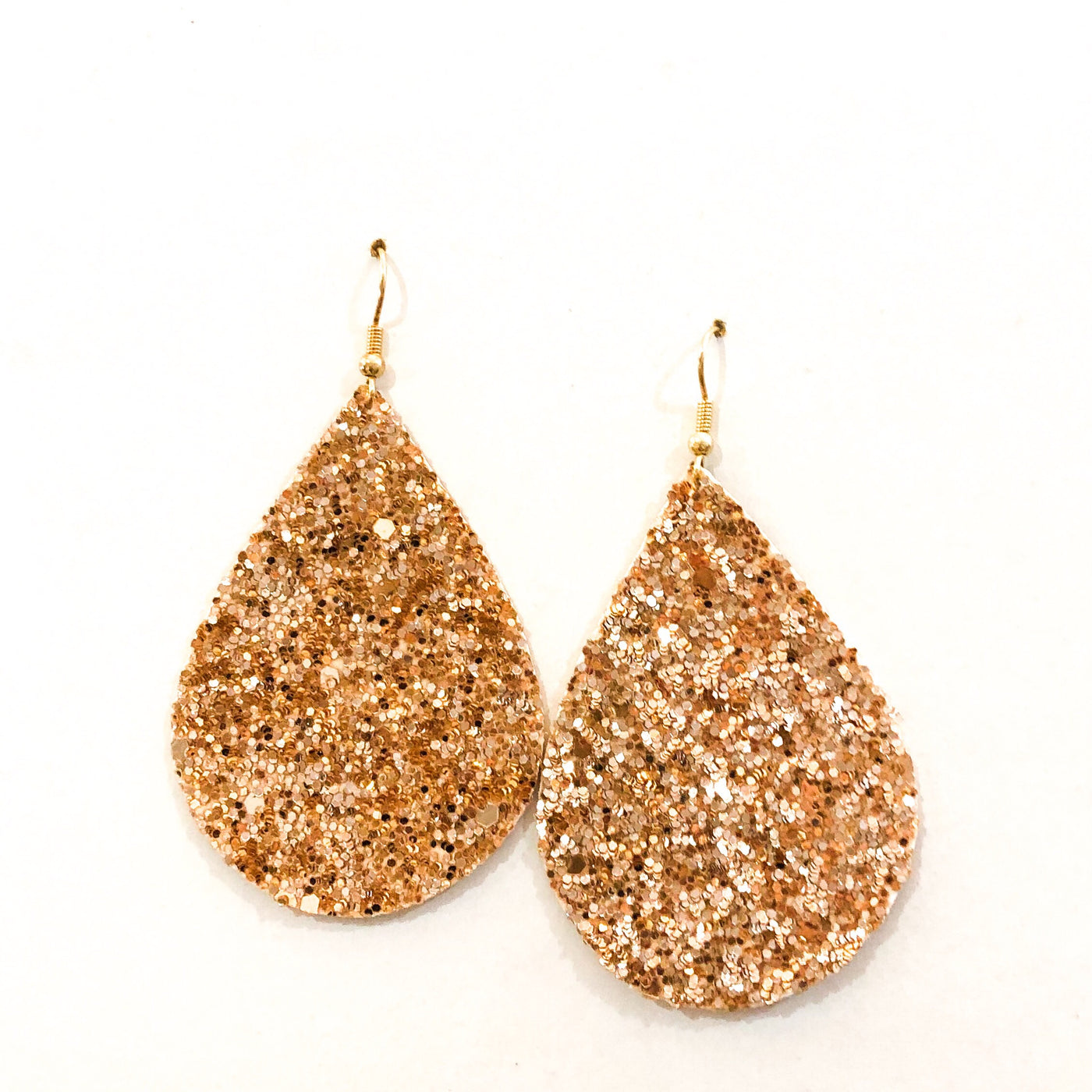 Rose Gold Sparkle Teardrop Earrings
