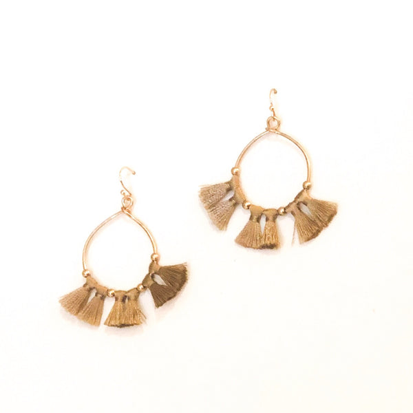 Tassel Teardrop Earrings - Champagne