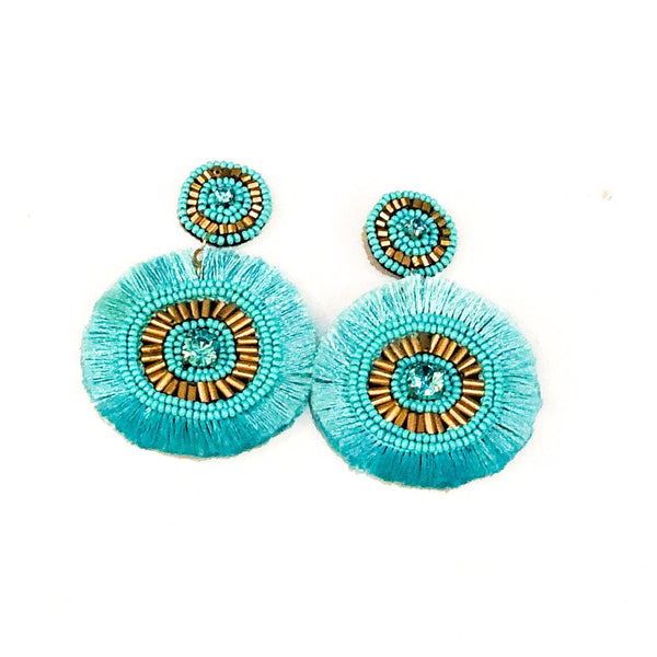 Beaded Disc Circle Earrings - Turquoise