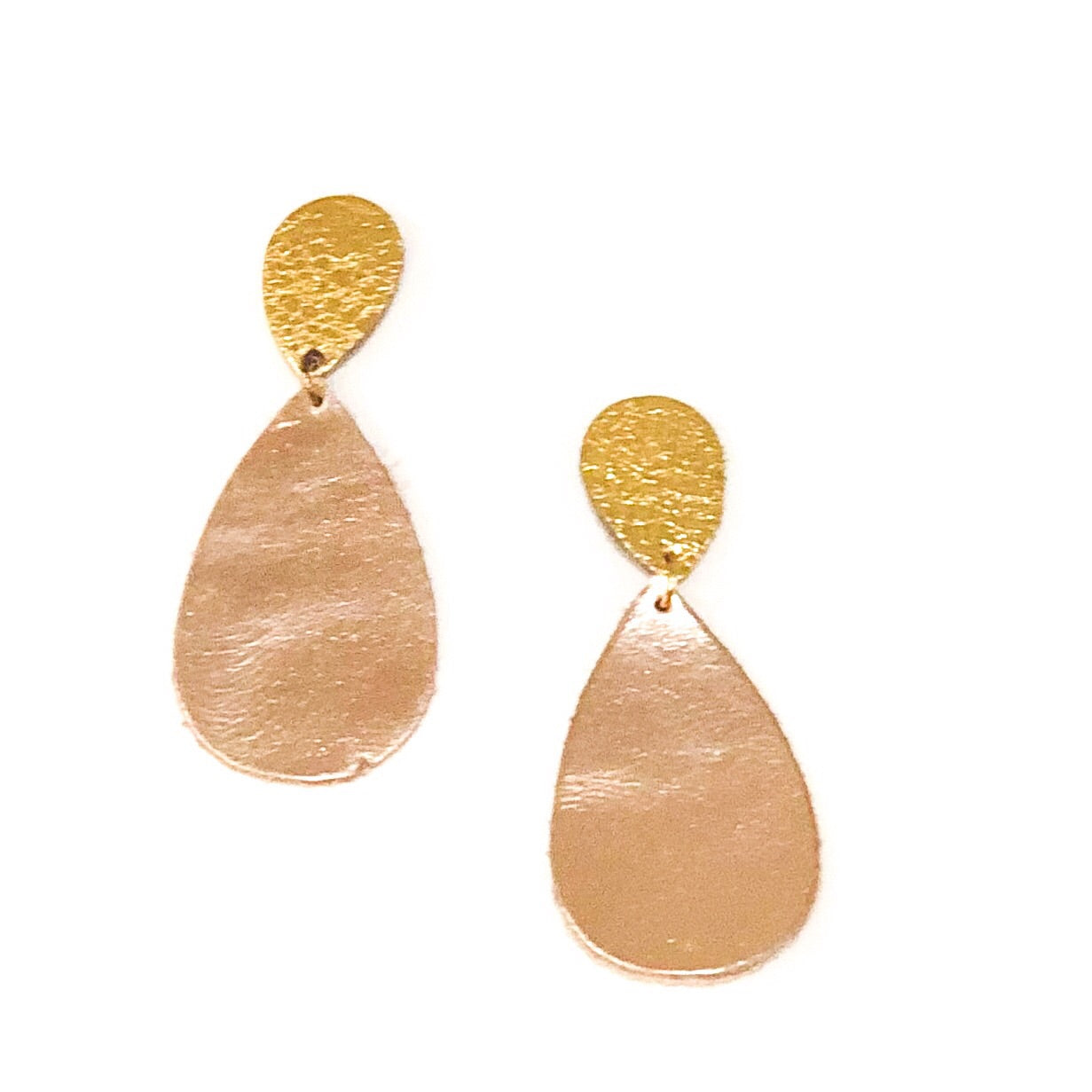 Leather Teardrop Link Earrings