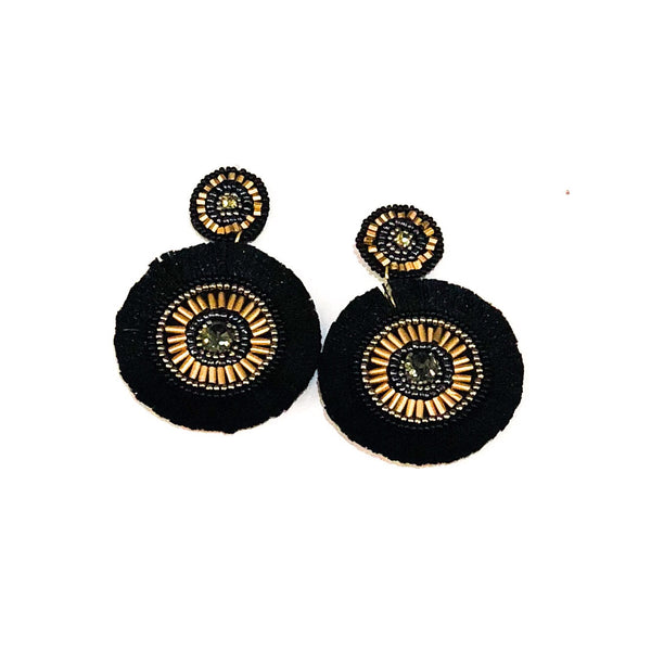 Beaded Disc Circle Earrings - Black