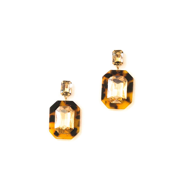Octagon Acrylic Oval Earrings - Tortoise