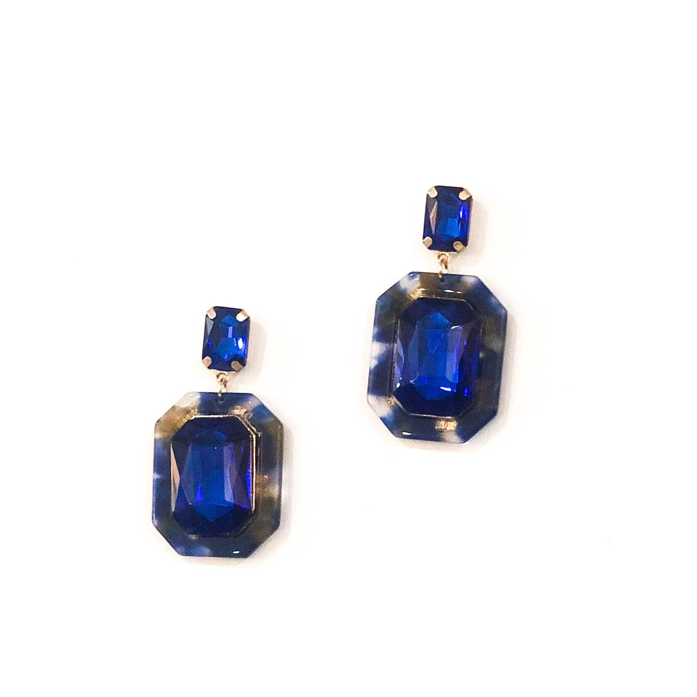 Octagon Acrylic Oval Earrings - Cobalt