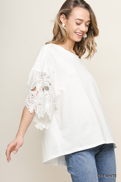 Floral Applique Bell Sleeve Top - White