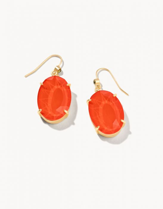 Glass Oval Earrings -Coral & Gold