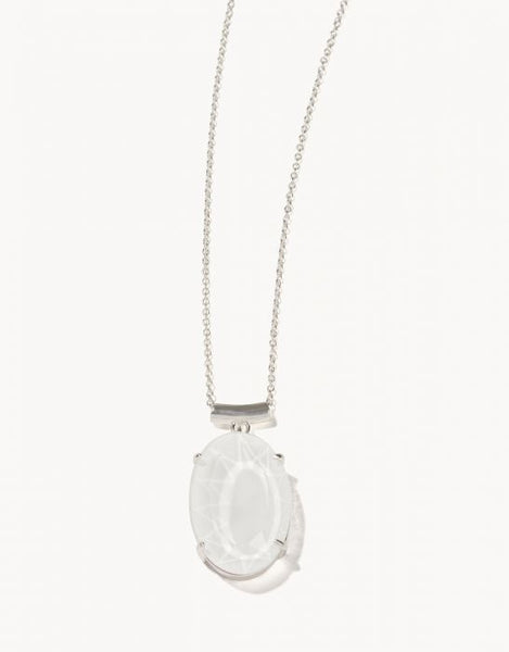 Oval Glass Slide Necklace - Silver