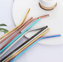 Load image into Gallery viewer, Re usable Metal Straws 4 pack