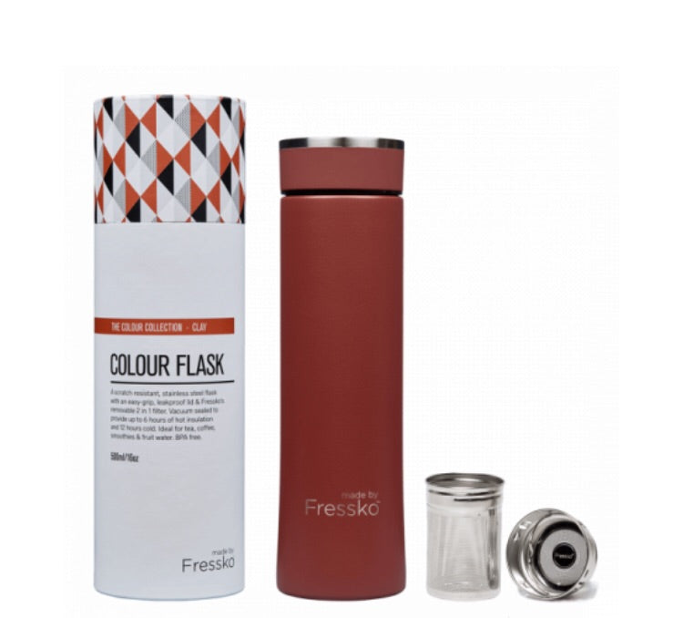 MADE BY FRESSKO NEW STAINLESS STEEL FLASK CLAY 500ML