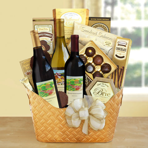 Golden Gourmet Wine Gift Basket