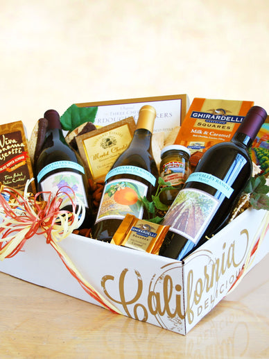 Menage a Trois California Wine Gift Basket