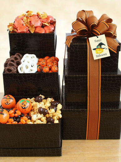 Halloween Tower of Chocolate Gift Basket