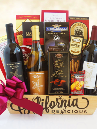 California Christmas Three Wise Kings Wine Gift Basket