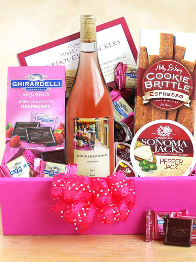 Pink Champagne Gift Basket For Her