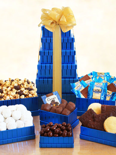 A Tasteful Tower of Kosher Sweets Holiday Gift Basket