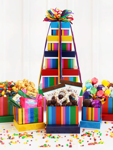 Gourmet Birthday Tower of Treats Gift Basket