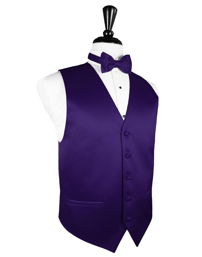Purple Luxury Satin Tuxedo Vest