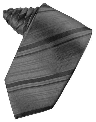 Charcoal Striped Satin Necktie