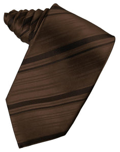 Chocolate Striped Satin Necktie