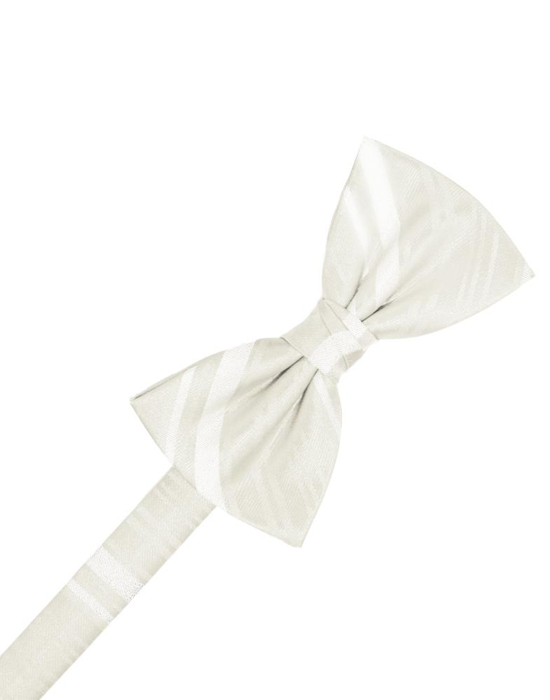 Ivory Striped Satin Bow Tie