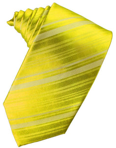 Lemon Striped Satin Necktie
