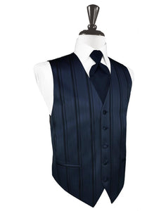 Midnight Blue Striped Satin Tuxedo Vest