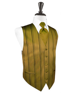 New Gold Striped Satin Tuxedo Vest