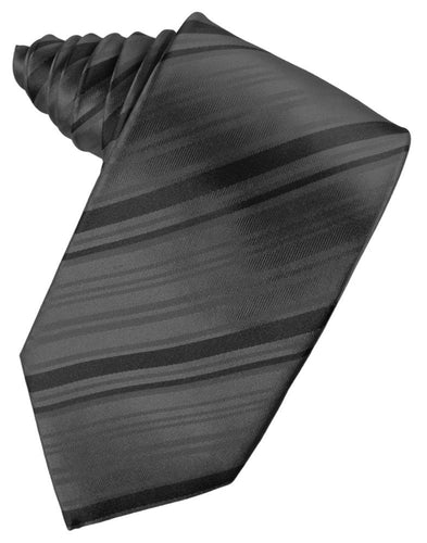 Pewter Striped Satin Necktie