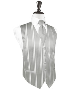 Platinum Striped Satin Tuxedo Vest