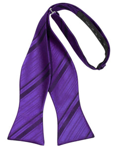 Purple Striped Satin Bow Tie