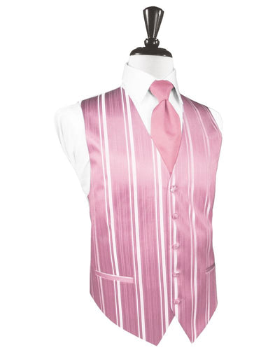 Rose Petal Striped Satin Tuxedo Vest