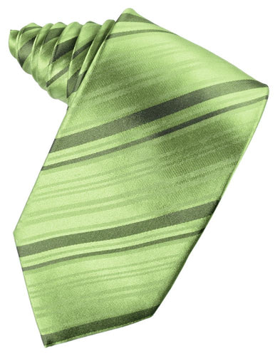 Sage Striped Satin Necktie