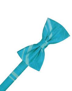 Turquoise Striped Satin Bow Tie
