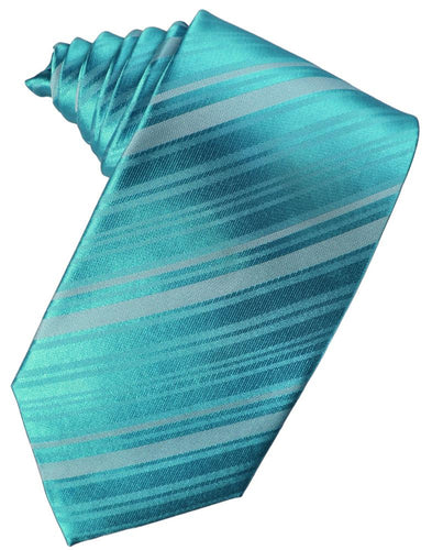 Turquoise Striped Satin Necktie