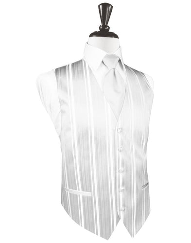 White Striped Satin Tuxedo Vest