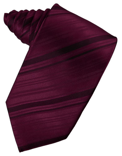 Wine Striped Satin Necktie