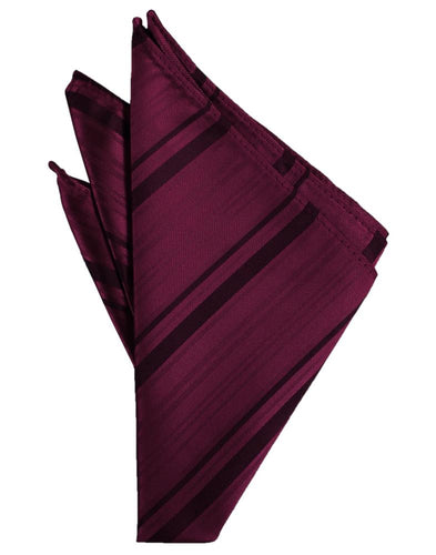 Wine Striped Satin Pocket Square