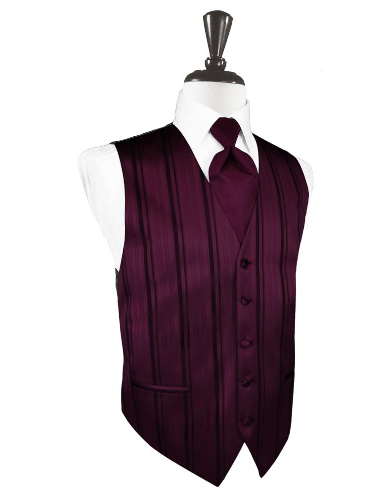 Wine Striped Satin Tuxedo Vest