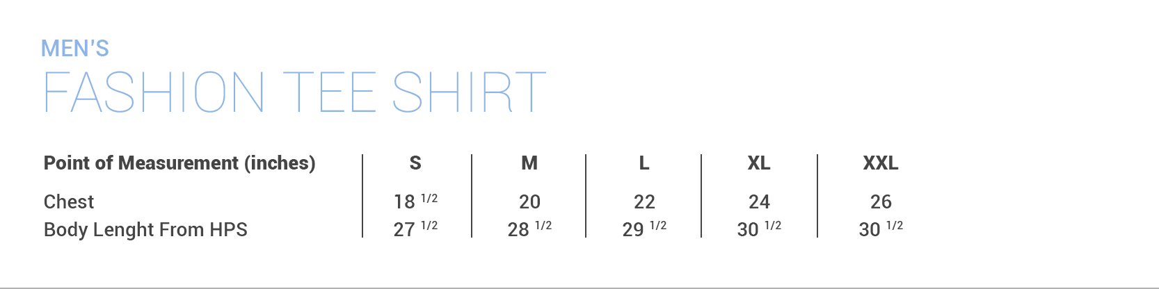 Fresh Mood Mens Sizing Chart