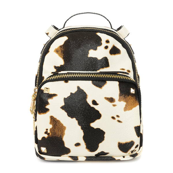 Animal Cowhide Print Waterproof Vegan Leather Backpack
