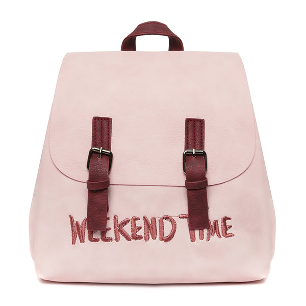Classic Pink Waterproof Vegan Leather Backpack