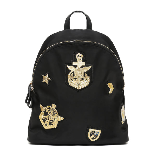 Black/Gold Nylon Naval Backpack