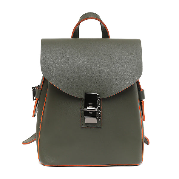 Khaki Style Vegan Leather Waterproof Backpack