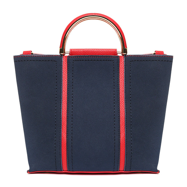 Vegan Suede Leather Blue/Red Transformer Shoulder Bag