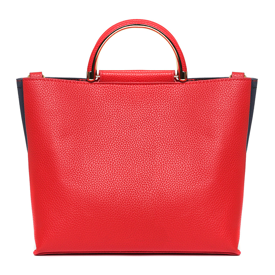 Vegan Suede Leather Blue/Red Small Tote