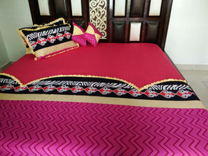 Beautiful Red and Mezentta Waves Fitted BedSheet