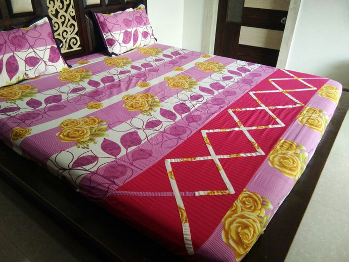 Big Yellow Flower with Violer Leaved Fitted BedSheet