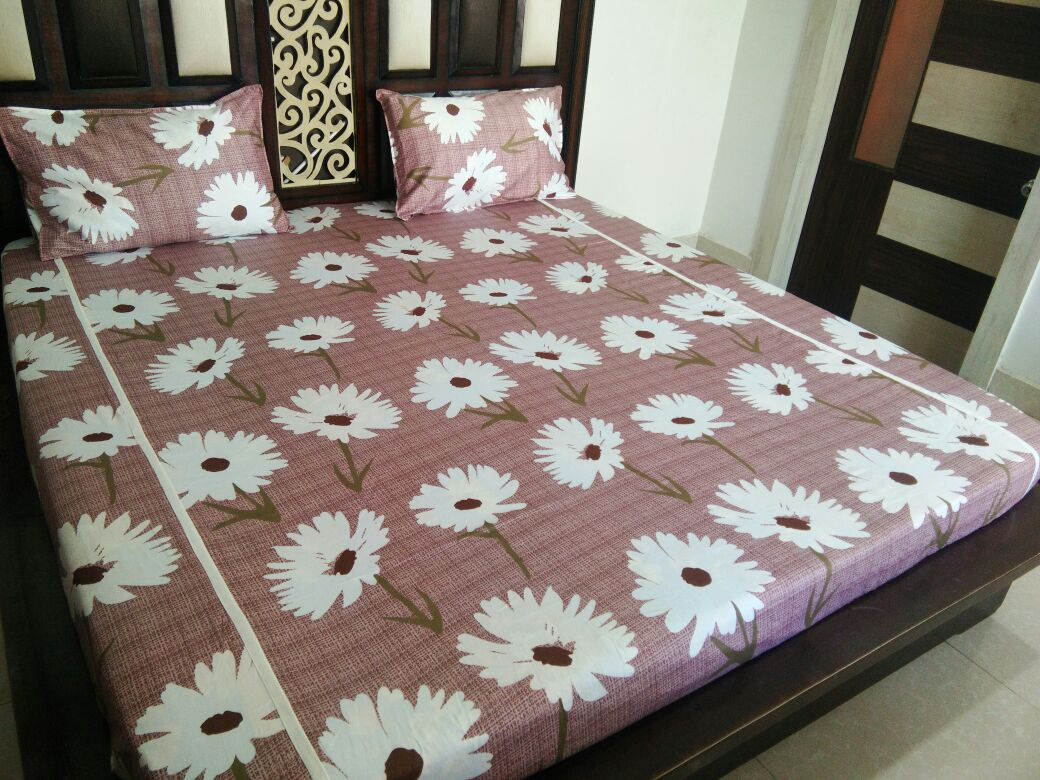 Big White Flower on Light Brown Fitted BedSheet