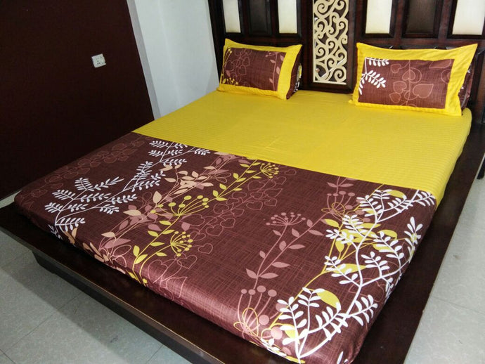 Leaf work on Brown and Yellow Fitted BedSheet