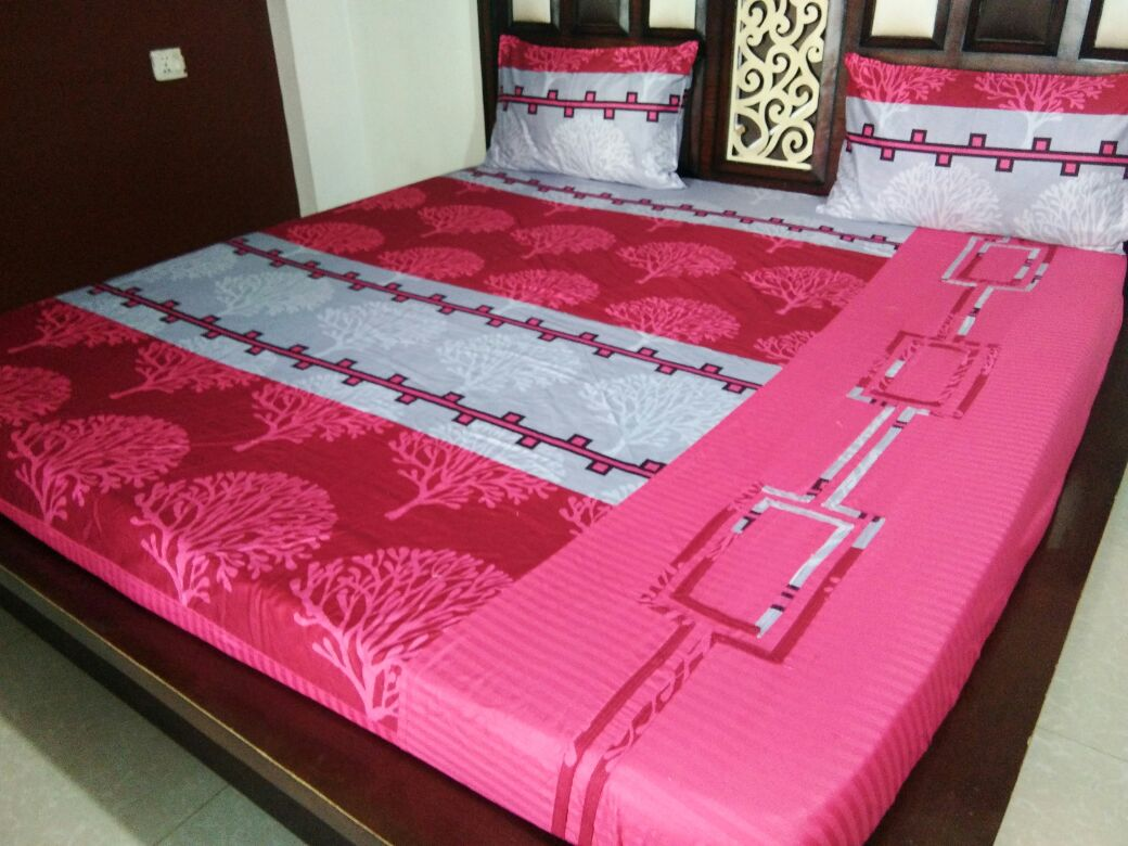 Bodhi Shrubs on Shades of Pink and White Fitted BedSheet